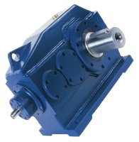 Triple reduction bevel-helical gearbox foot-mounted with solid output shaft KP - Solid, durable, efficient...