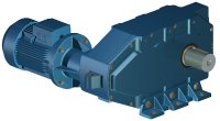 Parallel shafts triple reduction gearbox with electric motor C3(P)M - Solid, durable, efficient...