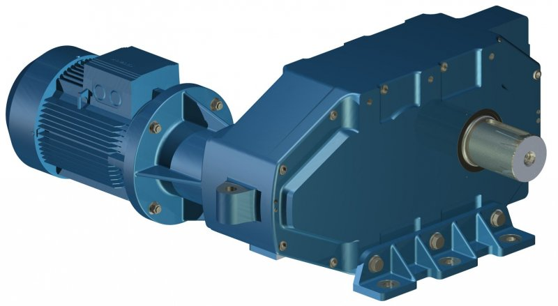 Parallel shafts triple reduction gearbox with electric for Reduction gearbox for electric motor